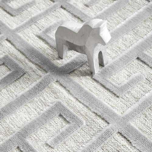 Network Rugs Silver Art Deco Power-Loomed Textured Runner