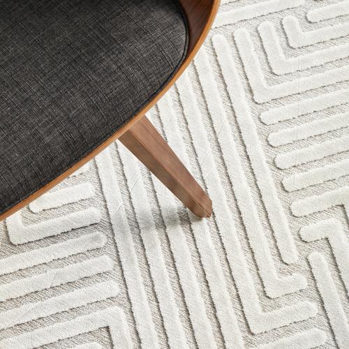 Network Rugs Off White Luxury Power-Loomed Textured Runner