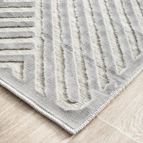 Network Rugs Silver Luxury Power-Loomed Textured Runner