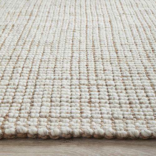 Natural & Cream Hand Loomed Wool-Blend Rug