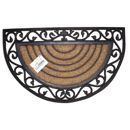 Solemate Door Mats 45cm Rubber and Coir Half Moon Door Mat