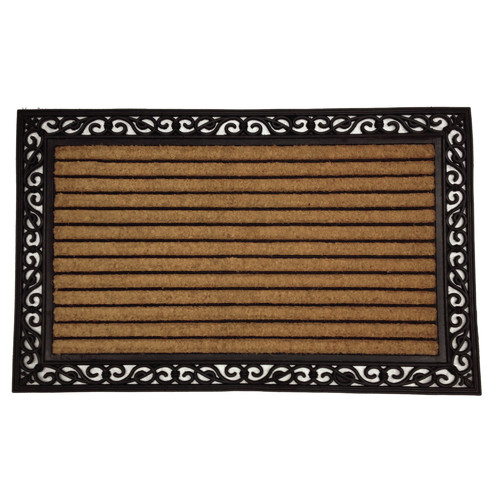 Solemate Door Mats Rubber and Coir Striped Door Mat