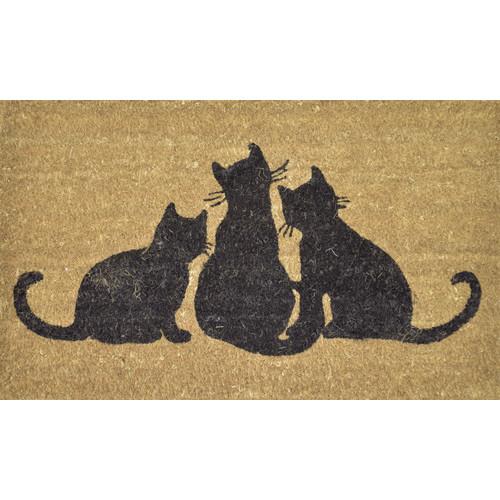 Solemate Door Mats PVC Back Coir Cats
