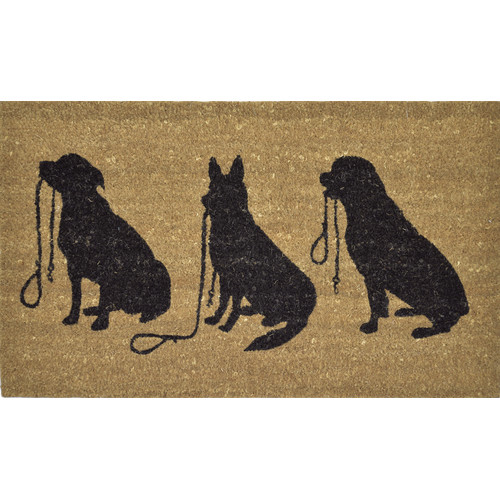 Solemate Door Mats PVC Back Coir Three Dog