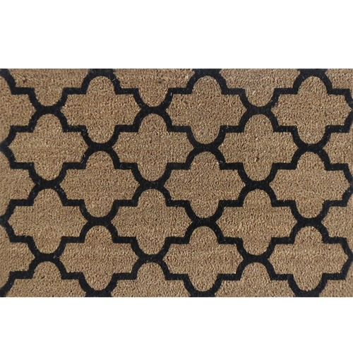 Solemate Door Mats Black Geo Tile Coir Doormat