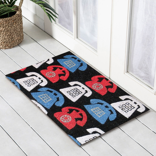 Multi-Coloured Phones Coir Doormat