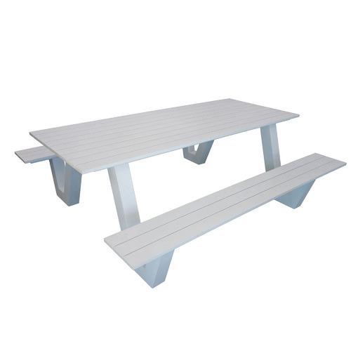 Hartman 6 Seater Wave II Aluminium Outdoor Dining Bench & Table