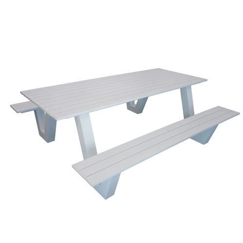 6 Seater Wave II Aluminium Outdoor Dining Bench & Table