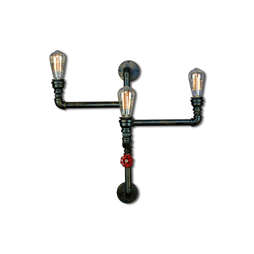 pipe 3 light wall lamp
