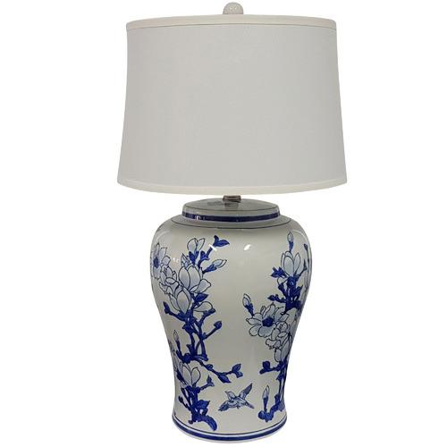 Elegant Designs Blue & White Jonquil Ceramic Table Lamp