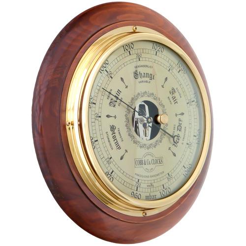 Cobb & Co. Clocks Australia Golden Brown Round Wooden Barometer