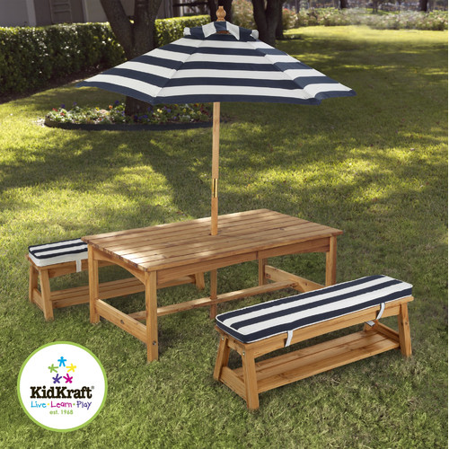 KidKraft Kids Outdoor Wood Table U0026amp; Bench Set