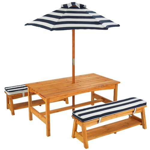 KidKraft Kids 4 Piece Outdoor Timber Table & Bench Set
