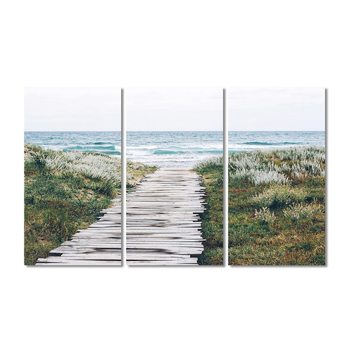 A La Mode Studio Beach Dunes Stretched Canvas Wall Art Triptych