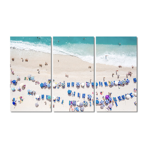 A La Mode Studio Beach Party Stretched Canvas Wall Art Triptych