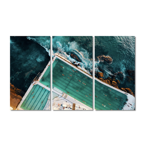 A La Mode Studio Bondi Icebergs Stretched Canvas Wall Art Triptych