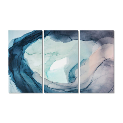 A La Mode Studio Ground Swell Stretched Canvas Wall Art Triptych