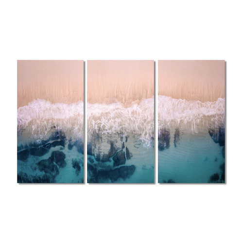 A La Mode Studio Aerial Beach Stretched Canvas Wall Art Triptych
