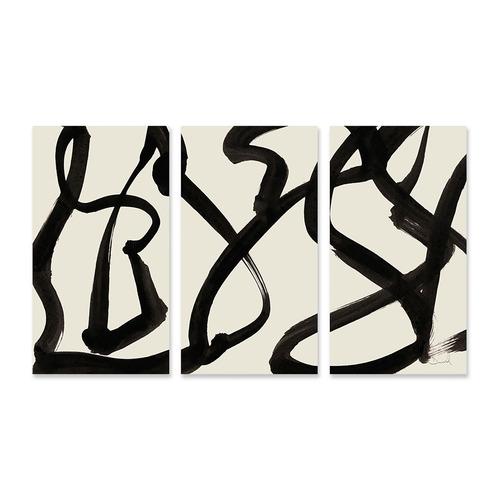 A La Mode Studio Black Minimal Stretched Canvas Wall Art Triptych