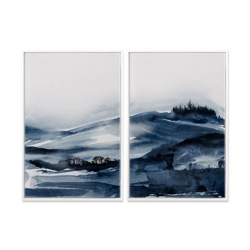 A La Mode Studio 2 Piece Forest Blue Canvas Wall Art Set
