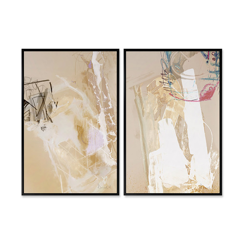 A La Mode Studio 2 Piece Gold Day Canvas Wall Art Set