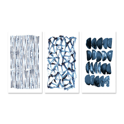 A La Mode Studio Blue White Stretched Canvas Wall Art Triptych