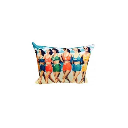 Vintage Beach Shack Bikini Girls Cushion
