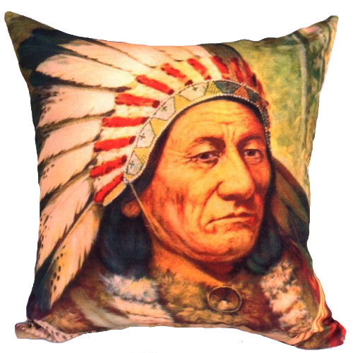 Vintage Beach Shack Sitting Bull Cushion Cover