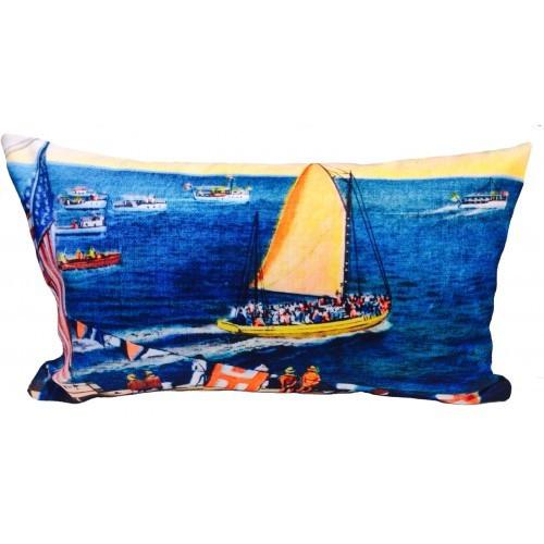 Vintage Beach Shack Sailing Cushion Cover