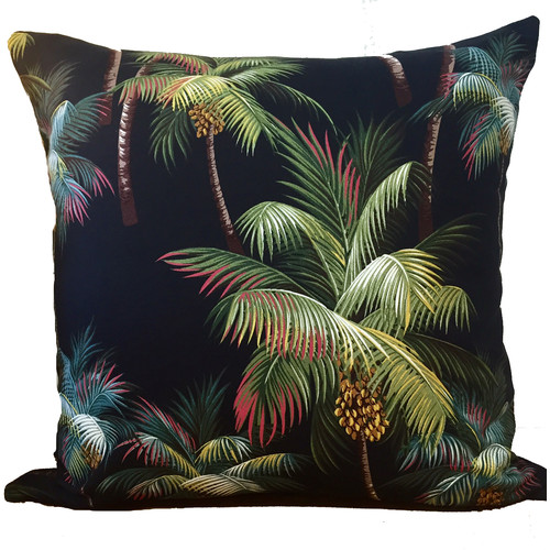 Vintage Beach Shack Palmtree Black Cushion