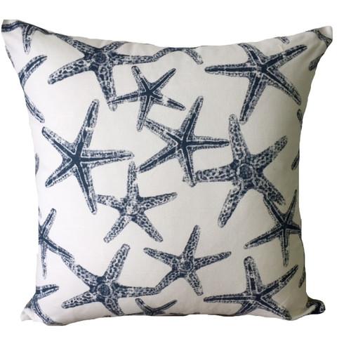 Vintage Beach Shack Starfish Indigo Cushion