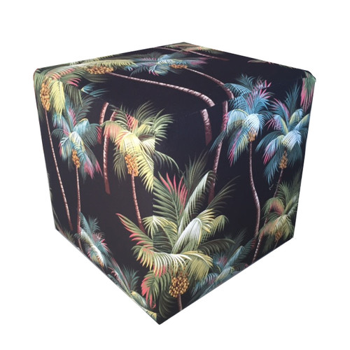 Vintage Beach Shack Black Palm Tree Ottoman