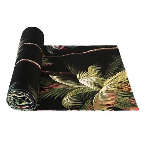 Vintage Beach Shack Palm Tree Black Bed/Table Runner