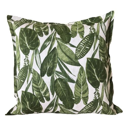 Vintage Beach Shack Summer Leaves Linen Cushion