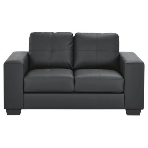 Mikasa Furniture Black PU Leather 2 Seater Sofa