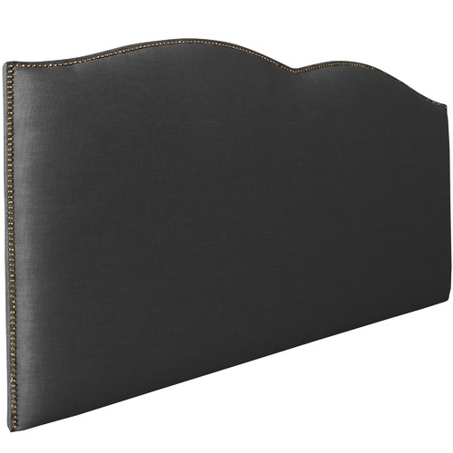 By Designs Ebony Plain Upholstered Heart Bedhead