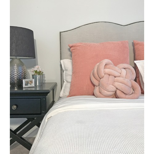 By Designs Frost Plain Upholstered Heart Bedhead