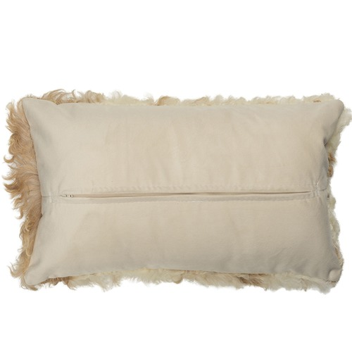 NSW Leather Tan & White Jacob Sheepskin Cushion
