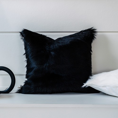 NSW Leather Black Shorn Hair Himalayan Goatskin Cushion