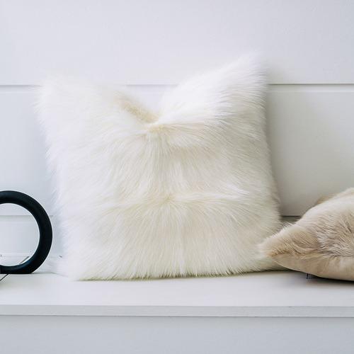 NSW Leather White Himalayan Goatskin Cushion