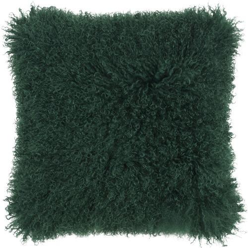 NSW Leather Emerald Mongolian Sheepskin Cushion