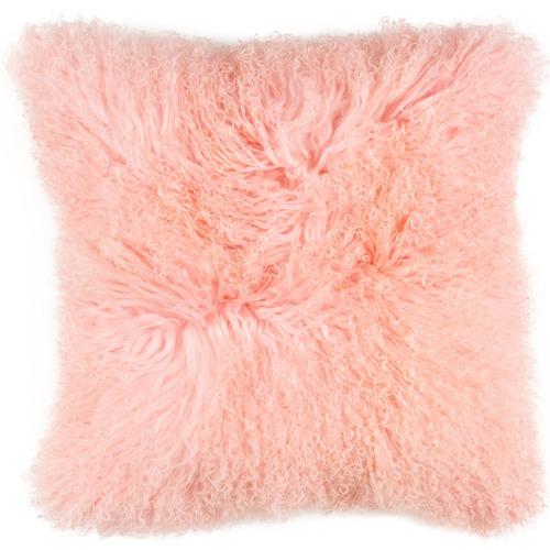 NSW Leather Pink Mongolian Sheepskin Cushion