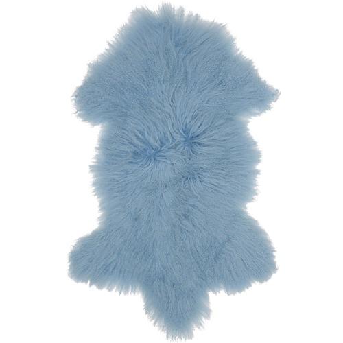 NSW Leather Light Blue Mongolian Sheepskin Rug