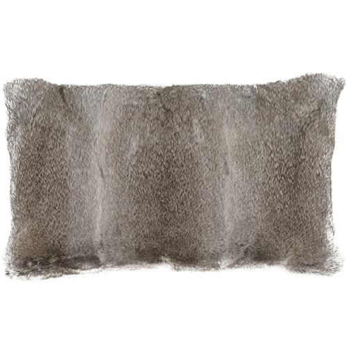 NSW Leather Grey Rabbit Fur Lumbar Cushion