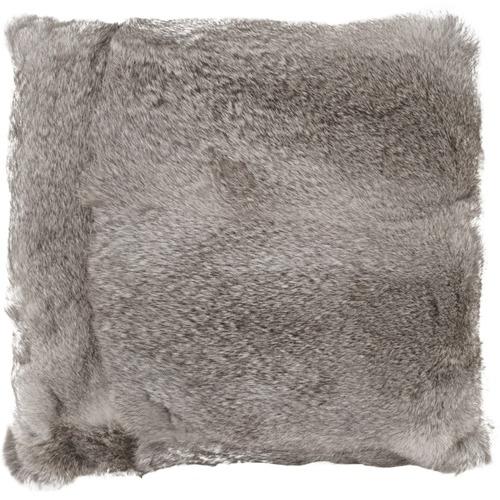 NSW Leather Grey Rabbit Fur Cushion