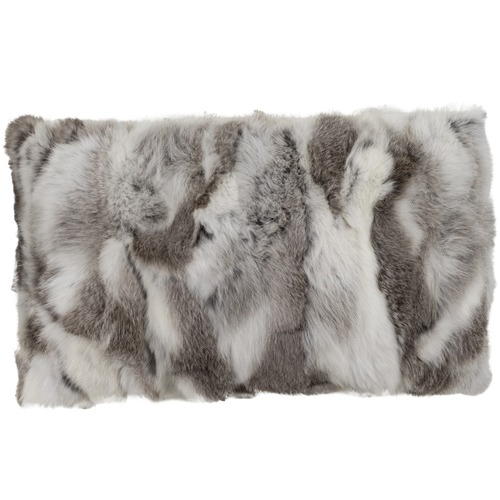 NSW Leather Grey & White Rabbit Fur Lumbar Cushion