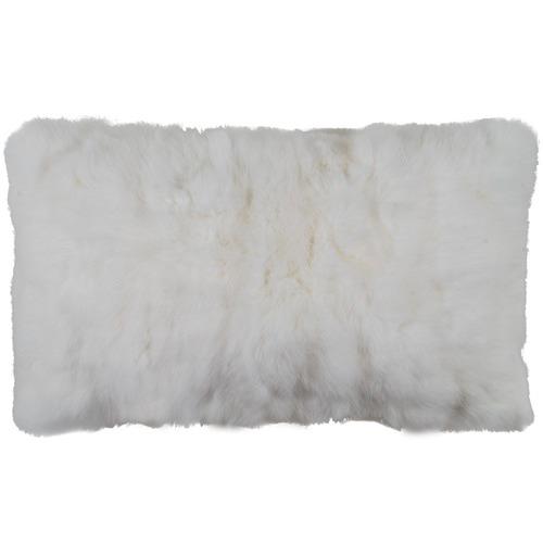 NSW Leather White Rabbit Fur Lumbar Cushion