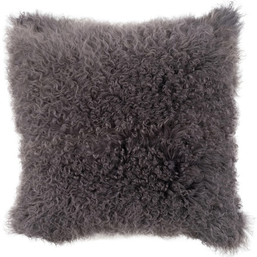 NSW Leather Charcoal Mongolian Sheepskin Cushion