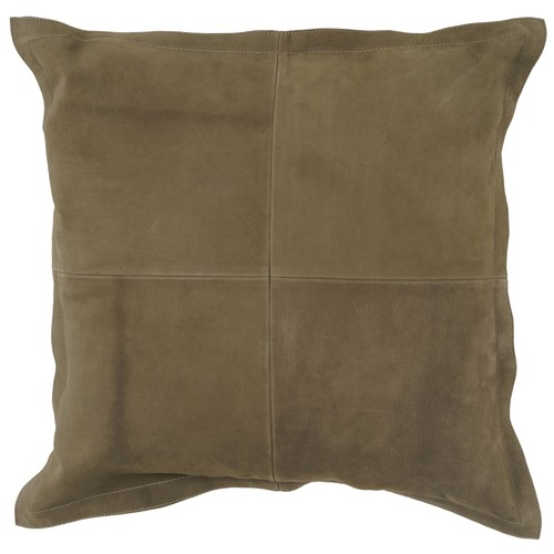 NSW Leather Olive Nappa Patchwork Leather Cushion