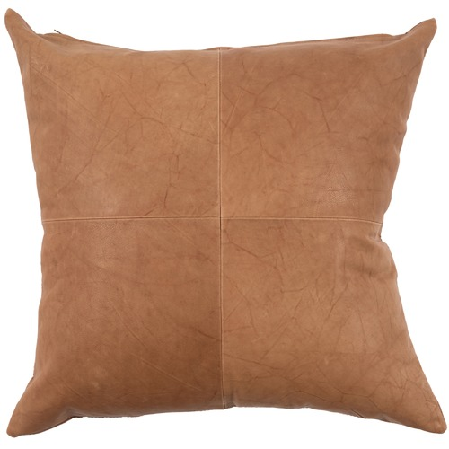 NSW Leather Cognac Rustic Patchwork Leather Cushion